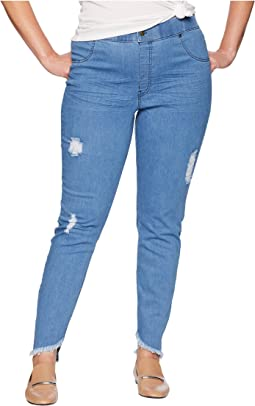 Plus Size Angled Hem Denim Skimmer Leggings
