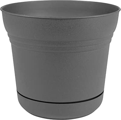 "Bloem SP07908 Saturn Planter w/Saucer 7"", Charcoal Gray"