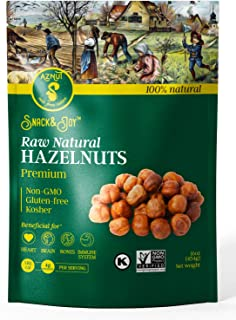 AZNUT Raw Hazelnuts Filbert Nuts , Shelled , Gluten Free, Fresh, Premium Quality 100 % Natural Non-GMO Project Certified, Kosher Certified, Great Snacks, Resealable Bag 1 LB