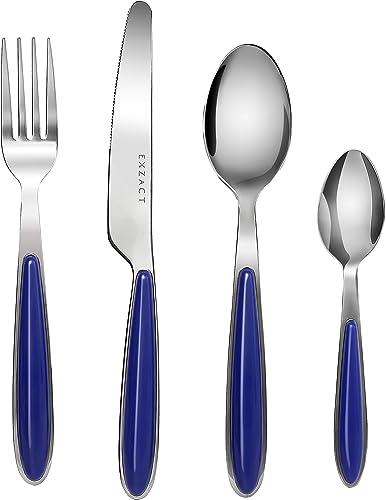 Exzact Conjunto de cuberteria con 24 Piezas - Acero Inoxidable con manecillas de Color - 6 Tenedores, 6 Cuchillos, 6 ...