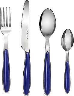 EXZACT Rostfrei Stahl Besteck Set einem Plastikhalter 24 PCS - Farbige Griffe - 6 Gabeln, 6 Messer, 6 Löffel, 6 Teelöffel - Blau EX07 x 24