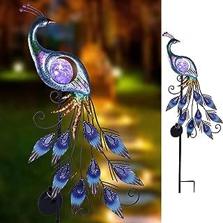 TERESA'S COLLECTIONS 31.5 inch Metal Peacock Decor Solar Garden Lights Solar Peacock Stake for Outdoor Patio Yard Decorations