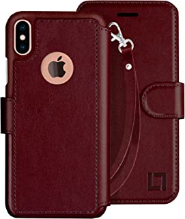 LUPA iPhone X Wallet Case-Slim & Lightweight iPhone X Flip Case with Credit Card Holder- iPhone 10 Wallet Case for Women & Men- Faux Leather iPhone Xs Purse Cases - Wristlet Burgundy