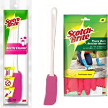 Scotch-Brite Heavy Duty Gloves (Medium)(Red) & Scotch-Brite Plastic Bottle Cleaner Brush (Pink and White)