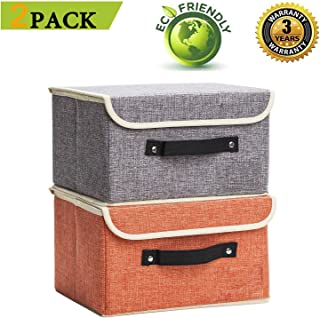 Jane's Home 2 Pack Storage Bins Boxes Linen Collapsible Cube Set Organizer Basket with Lid & Handle, Foldable Fabric Containers for Clothes, Toys, Closet, Office, Nursery (Grey and Orange)
