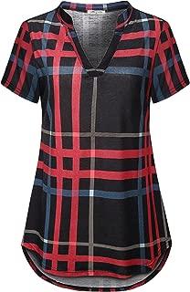 SeSe Code Women's Short Sleeve Notch V Neck Button Pleated Swing Tunic Shirt