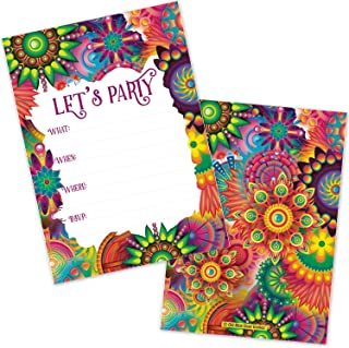 Colorful Hippie Flowers All Occasion Invitations (20 Count with Envelopes) - Kids or Adults Birthday, Disco Party, 70's or 80's Party, Baby Shower, Retirement Party, Invite for Any Fun Celebration