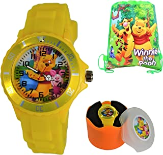 Gift Set Winnie The Pooh Silicone Wrist Watch & Drawstring Gift Pouch for Kids.