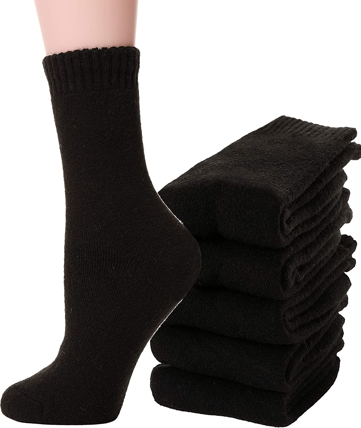5 Pairs Womens Wool Socks Fuzzy Heavy Thermal Thick Warm Cotton Boot Winter Socks