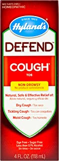 Cough Syrup by Hyland's Defend, Dry Cough Medicine, Mucus and Sore Throat Relief, Non-Drowsy, Natural Cough Suppressant fo...