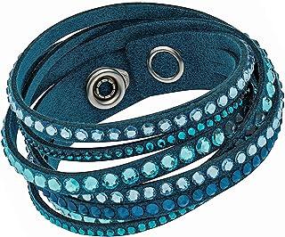 Swarovski Slake 5043496 Light Blue Alcantara Bracelet w/ Mixed Crystals