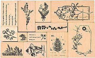 MissOrange『木製ゴム印セット』 花のスタンプ 鯨 クリエイティブスタンプセット クラフトカード スクラップブッキング 手帳用 12個セットM-18 (Poetic Plants)