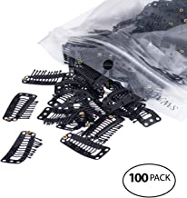 SWACC 100 Pcs U Shape Metailic Snap Clips ins for Hair Extension Hairpiece DIY Snap-Comb Wig Clips with Rubber (Black, 10-Teeth 9 holes)