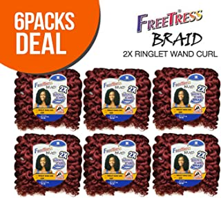 FreeTress Synthetic Hair Crochet Braids 2X Ringlet Wand Curl (6-PACK, 1B)