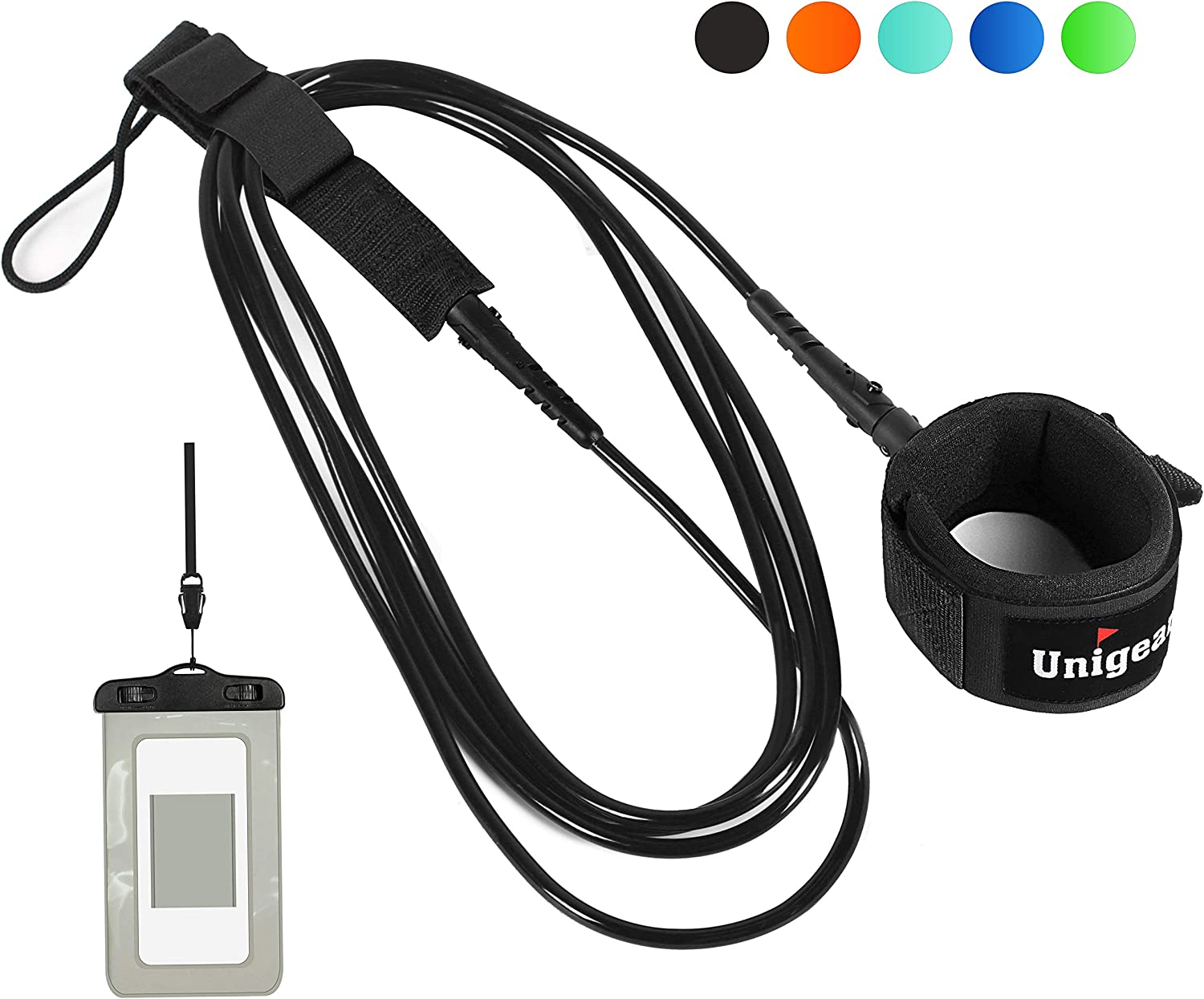Unigear Premium Surfboard Sup Leash for Inflatable Stand up Paddle Board with Waterproof Wallet