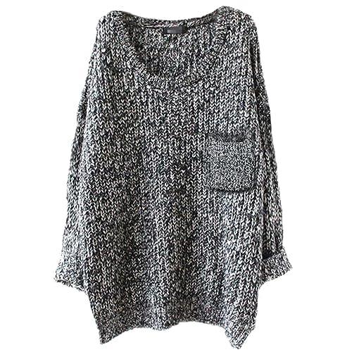 21a0bd45ed100b Alinfu Women s Casual Unbalanced Crew Neck Knit Sweater Loose Pullover  Cardigan