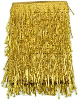 Goelx 9.5 mtr Golden Latkan Hanging Tassel Lace for Dresses, Sarees, Lehenga, Borders, Bags, Art & Craft and All Decoration Works - Golden