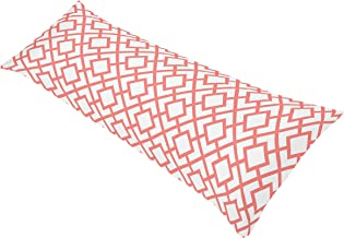 Sweet Jojo Designs Modern White and Coral Diamond Geometric Full Length Double Zippered Body Pillow Case Cover