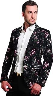 Mens 1 Button Floral Cotton Blazer Sport Coat Jacket