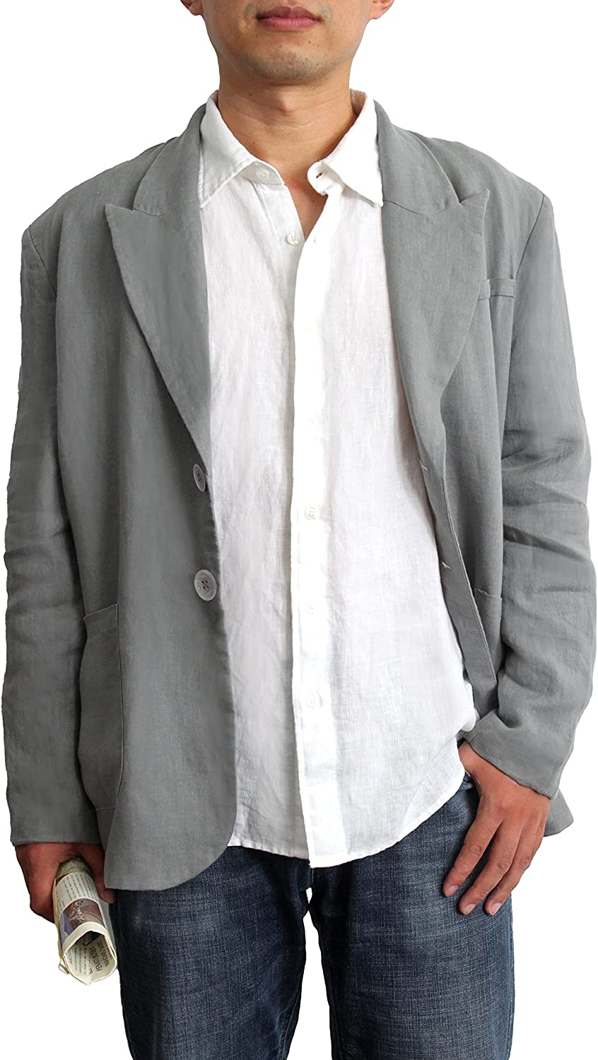 S VICTORY SYMBOL Pure Linen Men Max 49% OFF Award Full Suit S-XXL Casual Jackets