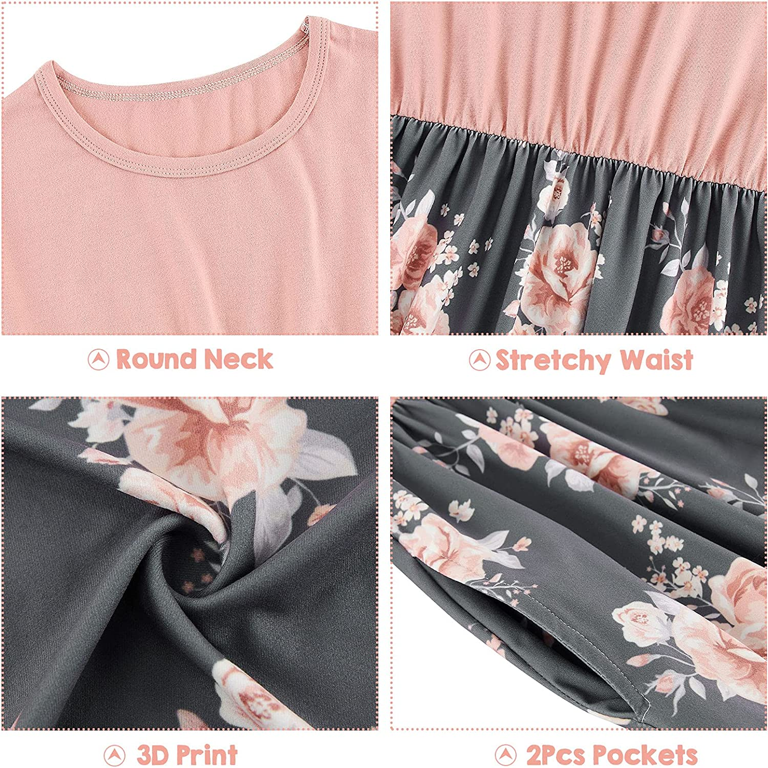 UNICOMIDEA Girls Maxi Dress Fashion Long Dresses for Kids Ankle Dresses with Pockets for 6-13 Years Old