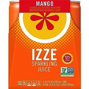 IZZE Sparkling Juice Beverage, Mango, 8.4oz Cans (4 Pack)