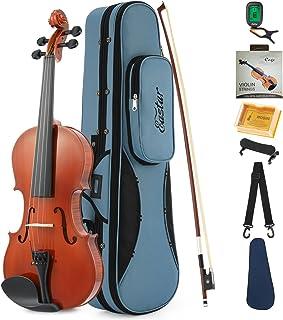Eastar 4/4 Violín Natural EVA-1 Tamaño completo con Estuche Rígido, Resto del Hombro, Arco, Resina, Sintonizador de Clip y Cuerdas Extra para Principiantes