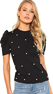 Women's Elegant Pearl Embellished Puff Short Sleeve Blouse Tops