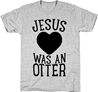 LookHUMAN Jesus was an Otter Athletic Gray Men's Cotton Tee