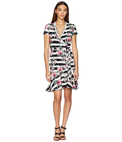 Nicole Miller Claudette Wrap Dress (Black/White) Women