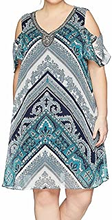 Sandra Darren Women's Plus Size Printed Chiffon Cold Shoulder Necklace Dress