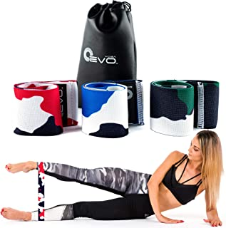 Yoga EVO Fabric Resistance Bands, Set of 3 Non Slip Resistance Bands for Legs, Thick Wide Exercise Loops for Home Workout,...