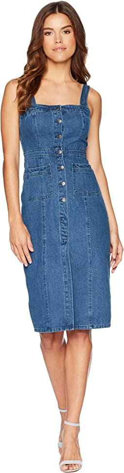 BB Dakota Lauren Button Front Denim Midi Dress
