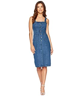 Lauren Button Front Denim Midi Dress