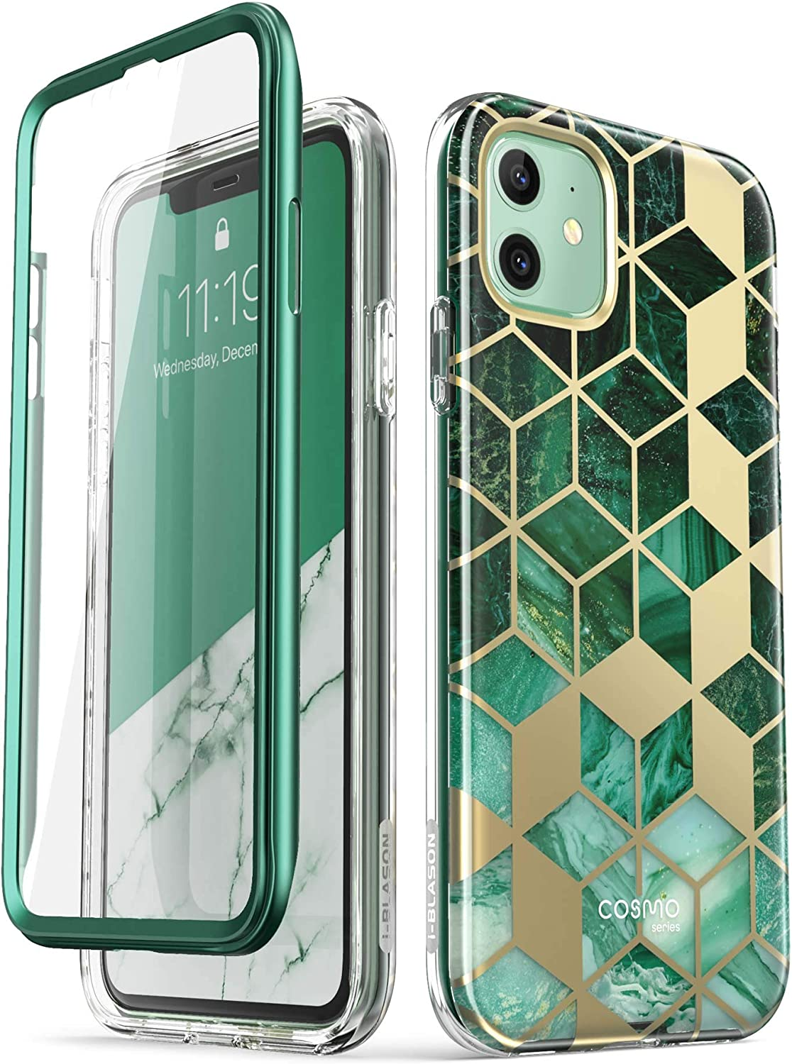i-Blason Cosmo Series Case for iPhone 11 (2019 Release), Slim Full-Body Stylish Protective Case with Built-in Screen Protector, Prasio, 6.1''