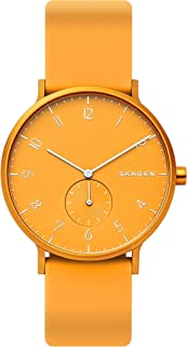Skagen Aaren Men's Yellow Dial Silicone Analog Watch - SKW6510