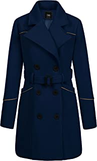ZSHOW Women's Double Breasted Lapel Wrap Coat with Belt