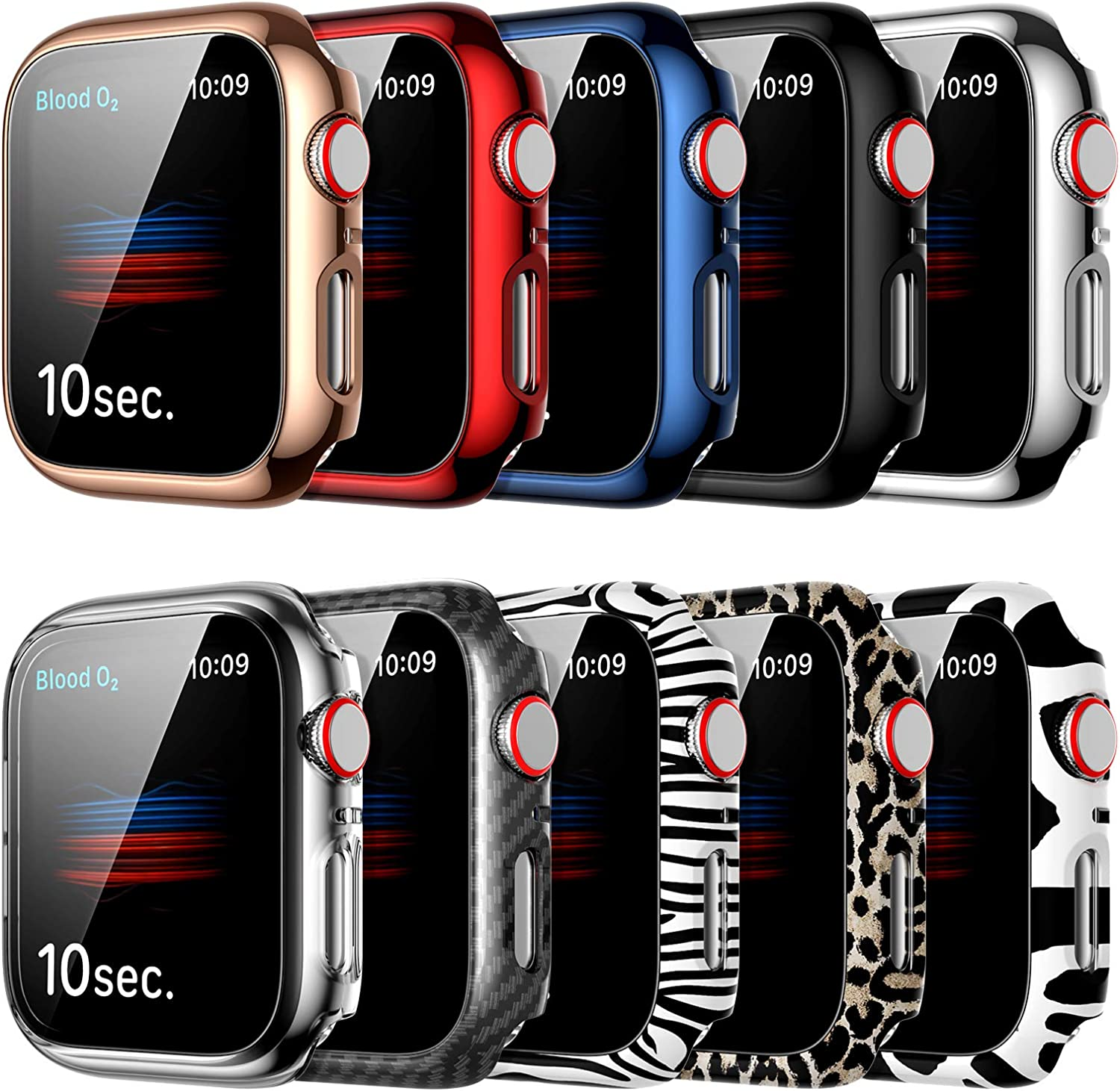 10 Pack Screen Protector for Apple Watch 44mm Series SE/6/5/4 Hard Case,JZK Fashion Animal Pattern Design Full Cover Ultra-Thin PC Bumper Protective Case for Women Girls iWatch 44mm Accessories
