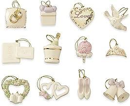 Lenox Wedding Miniature Tree Ornaments Set 12 Bridal Dove Heart Bells Shoes NO TREE