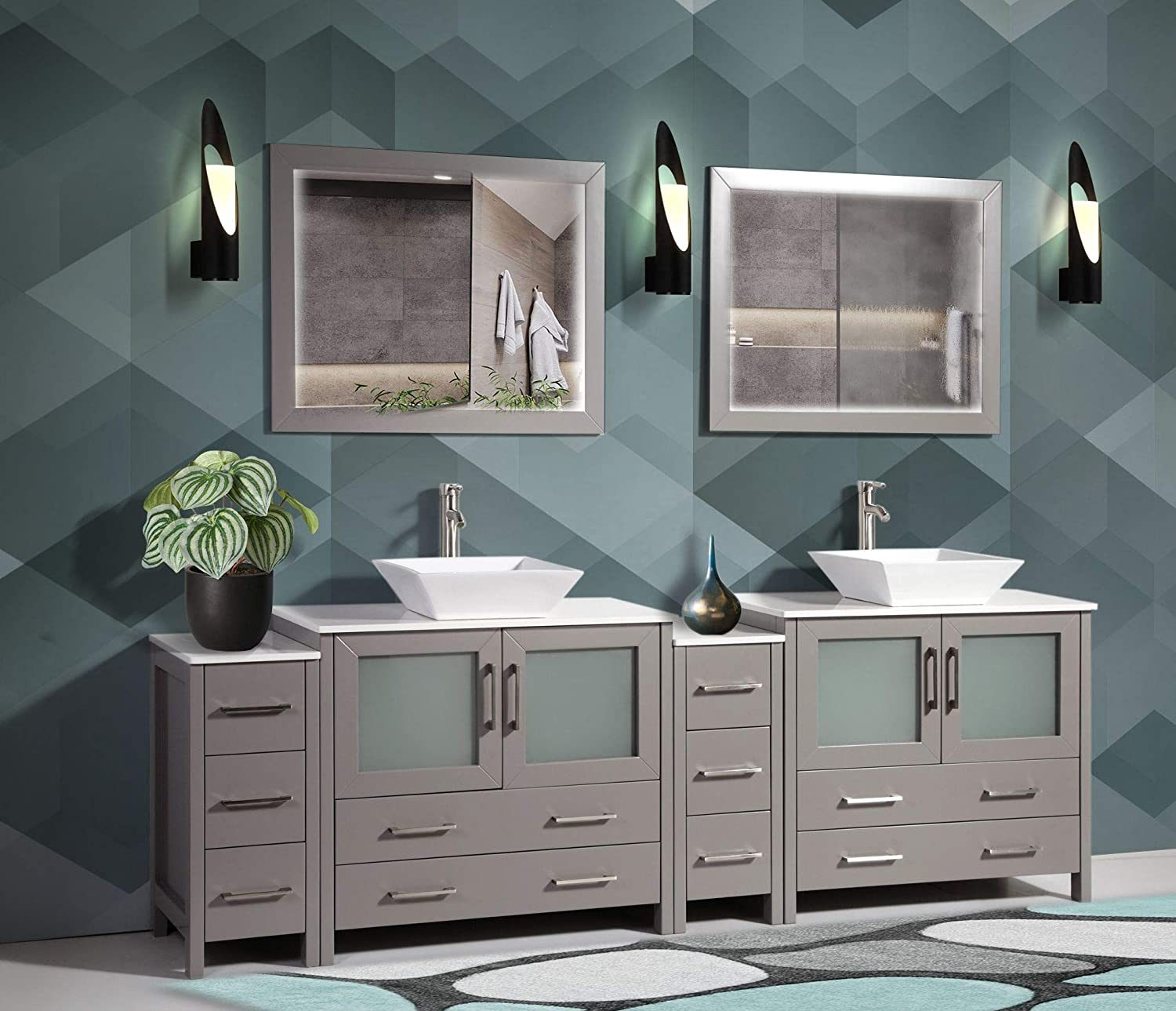 Amazon Com Vanity Art 96 Inch Double Sink Bathroom Vanity Compact Set 4 Cabinets 2 Shelves 10 Dove Tailed Drawers Quartz Top And Ceramic Vessel Sink Bathroom Cabinet With Free Mirror Va3136 96 G Tools