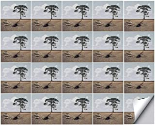YOLIYANA Driftwood Decor Strong Adhesion Ceramic Tile Stickers 20 Pieces,A Tree on The Arid Terrain and Driftwood Cloudy Sky Digital Image for Living Room Kitchen,One Size