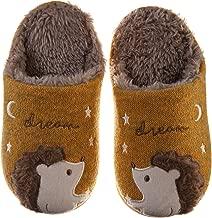 Kids Boy Girls Cute Animal House Slippers Soft Warm Hedgehog Indoor Fuzzy Plush Waterproof Sole Slipper Shoes