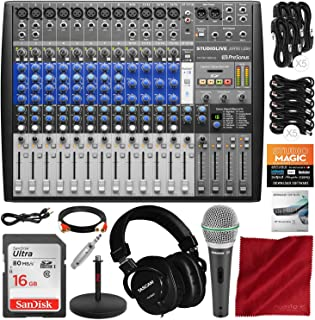 PreSonus StudioLive AR16 USB 18-Channel Hybrid Performance and Recording Mixer with Mixing Headphones, Microphone, and Deluxe Bundle