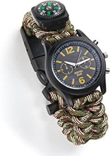 Equipped Outdoors 6 In 1 Paracord Survival Safety Watch with Fire Starter and Paracord