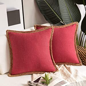Phantoscope Pack of 2 Farmhouse Decorative Throw Pillow Covers Burlap Linen Pillow Covers Trimmed Tailored Edges Red 18 x 18 inches, 45 x 45 cm