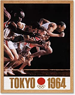 Advert Sport Exhibition Olympic Games Tokyo 1964 Art Print Framed Poster Wall Decor 12X16 Inch 広告スポーツ展覧会オリンピックゲーム東京ポスター壁デコ