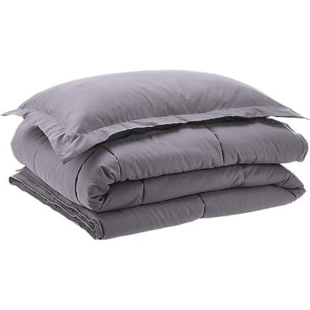 Amazon Basics Down-Alternative Comforter Bedding Set with Pillow Sham - Twin, Grey