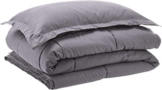 AmazonBasics Down-Alternative Comforter Bedding Set with Pillow Sham - Twin, Grey