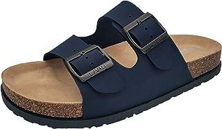 Men's 2-Strap Leather Slide Sandals, Slid-on Cork Footbed Sandals with Double Metal Adjustable Buckles