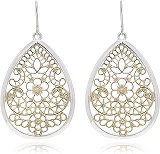 Bohemian Gold & Silver Two Tone Floral Filigree Big Tear Drop Earrings